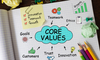 Notebook with Toolls and Notes about Core Valuesconcept