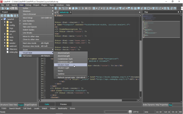 Configuring Visual Styles in CodeLobster PHP IDE