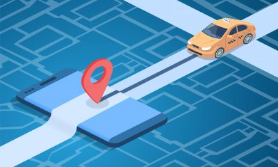 Taxi online service vector illustration of car on city map with navigation pin on smartphone. Transportation technology design for carsharing or carpool mobile phone application