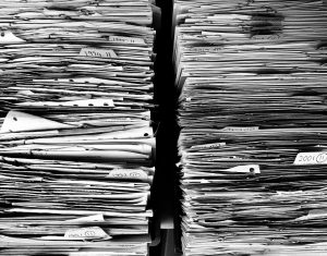 Two piles of papers.