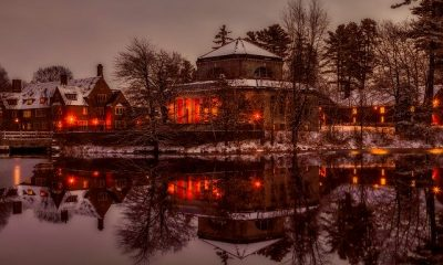 A beautiful school at the lake in winter, making life in New Hampshire amazing.