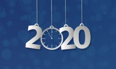 Numbers 2020 and a clock.