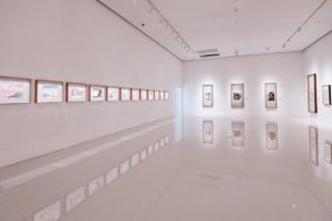 pictures and paintings displayed on white walls in a beautiful and simple art space